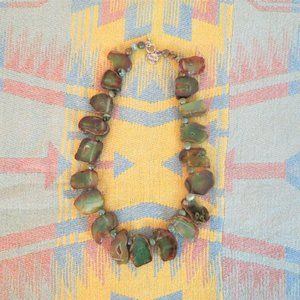 Beautiful Green & Brown Chunky Agate Necklace